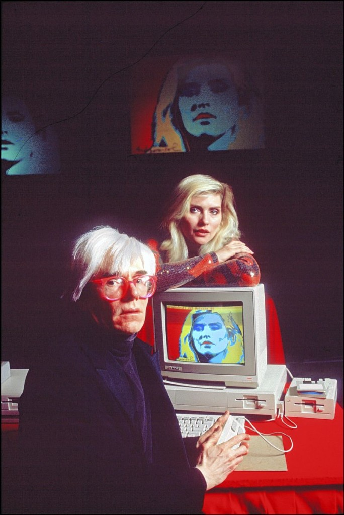 Andy Warhol with Debbie Harrys at the 1985 Amiga Launch at Lincoln Center